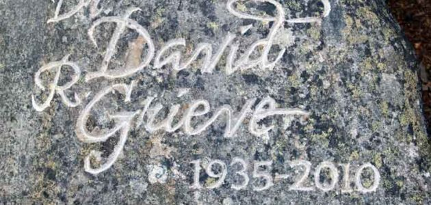 Dr Grieve hand-carved rough mountain stone headstone