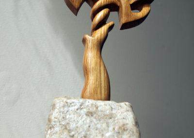Celtic knotwork tree carved from whisky barrel stave