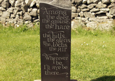 Among the deer poem carved on slate