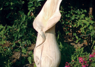 Calla lily carved in oak