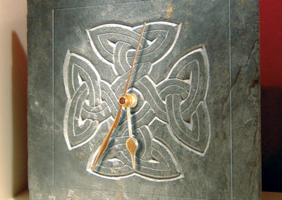 Celtic knotwork cross slate clock