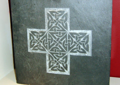 Celtic knotwork cross carved slate plaque