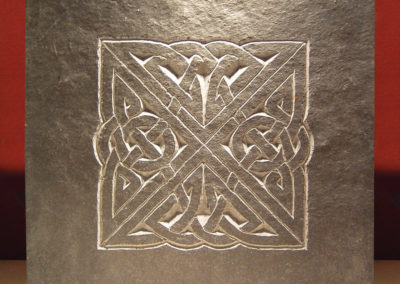 Celtic knotwork carved slate plaque