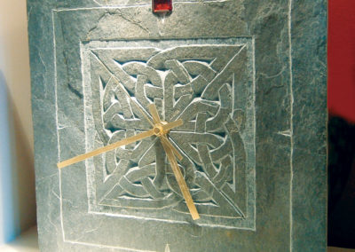 Ruby anniversary Celtic knotwork slate clock with ruby stone