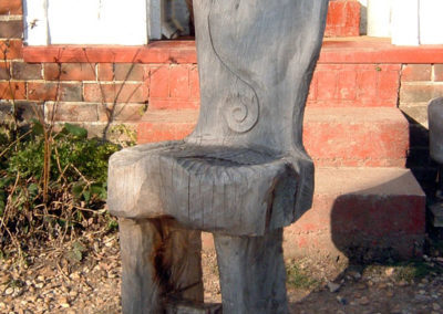 Carved chair in oak