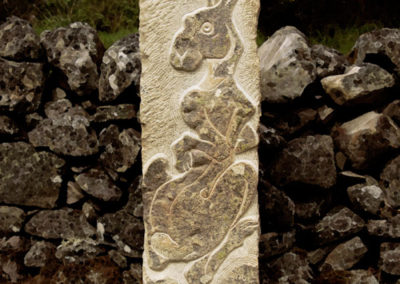 Mountain hare stone carving