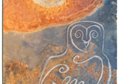 Barn owl at sunrise carved wildlife slate