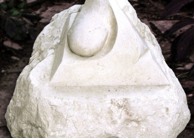 Stylised pyramid carved in Portland stone