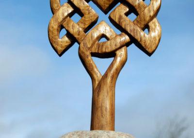 Celtic tree carved from old oak whisky barrel stave
