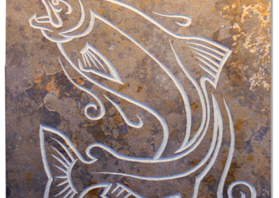 Showing salmon carved slate wall panel