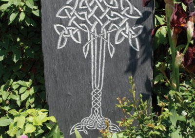 Celtic Tree of Life garden slate carving