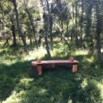 Chainsaw-carved rustic wood bench in Scots Pine