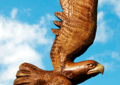 Golden Eagle in flight chainsaw carving
