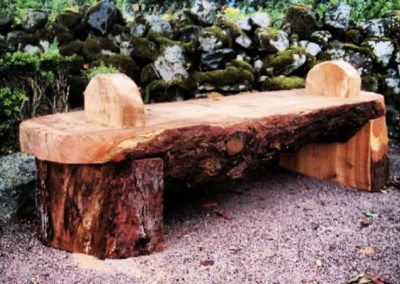 Rustic pine outdoors bench