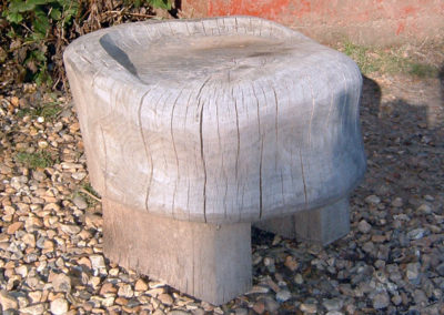 Carved beech garden stool