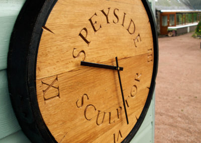Reclaimed Whisky barrel top garden clock