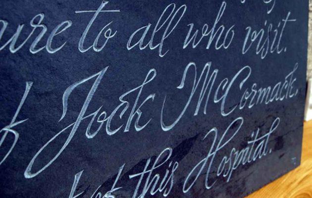 Hand-carved memorial slate plaque