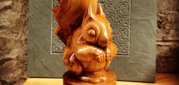 Carved squirrel trophy for Crown Estate Scottish Finest Woods Award