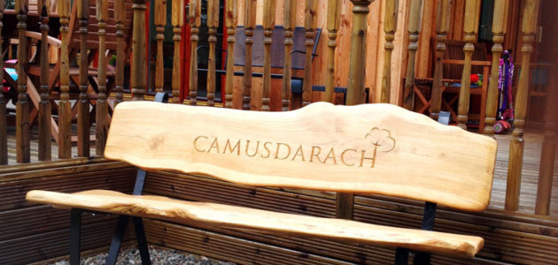 Camusdarach oak garden bench with letter carving