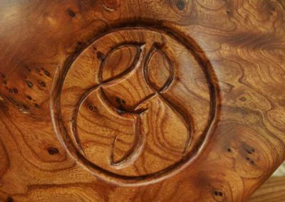 Hand-carved letter forms on bowl. wedding present