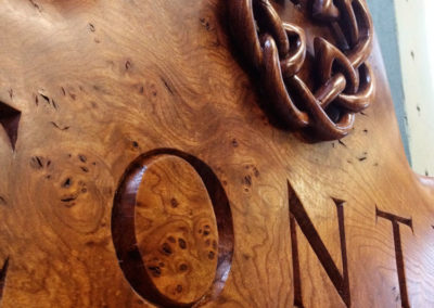 Hand-carved family name Conti sign