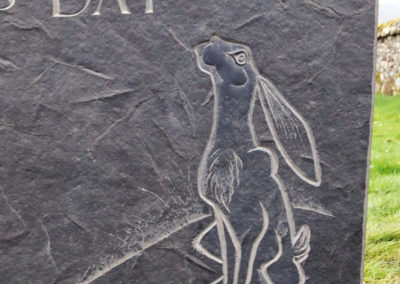 Caithness stone memorial letter carving silver moon moon-gazing hare