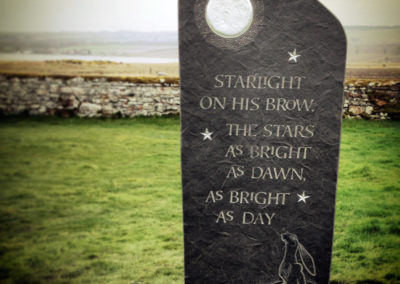 Caithness stone memorial letter carving silver moon moon-gazing hare Pictish key pattern