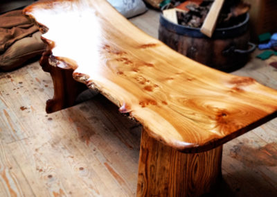Elm garden bench and coffee table