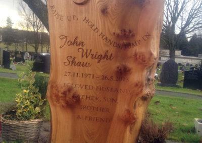Musician's wooden memorial