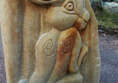 St. Melangell's hare stone carving