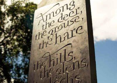 Hand-carved lettering slate Scottish Highlands poem