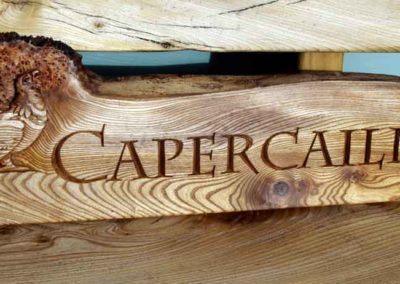 hand-carved lettering wooden house sign Capercaillie Lodge