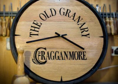 hand-carved lettering whisky barrel house sign clock Cragganmore