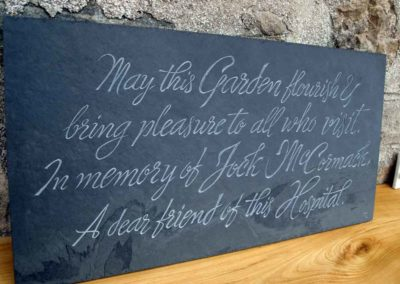 Hand-carved memorial slate plaque