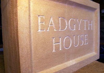 hand-carved lettering stone house sign Eadgyth House