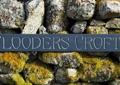 hand-carved lettering slate house sign Flooders Croft