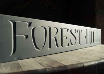 hand-carved lettering slate house sign Forest Hill