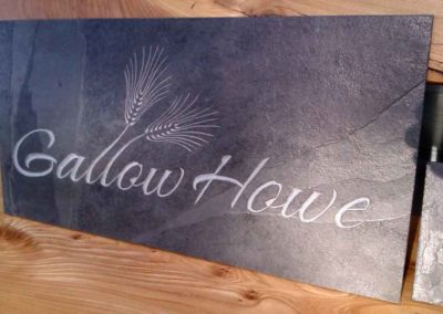 hand-carved lettering barley slate house sign Gallow Howe