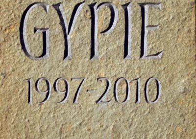 hand-carved pet dog memorial Caithness stone Gypie