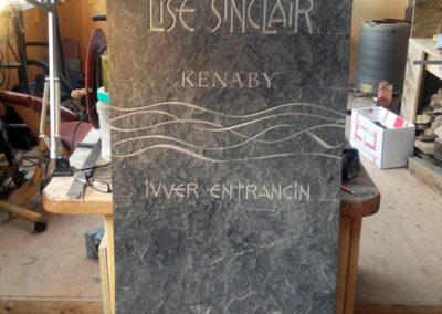 Hand-carved Caithness stone memorial headstone Lise Sinclair Fair Isle Shetland