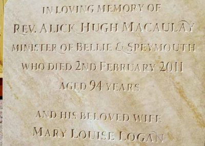Minister's headstone. Hand-carved lettering in sandstone