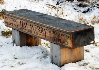Hand-carved wooden Speyside Way Memorial Bench