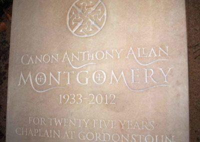 Sandstone headstone for Gordounstoun School Chaplain