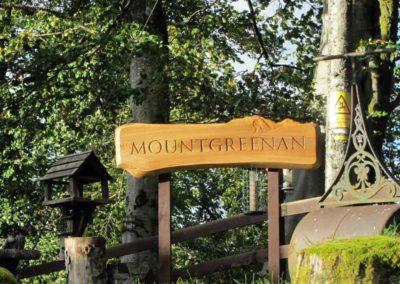 hand-carved lettering wood house sign Mountgreenan elm