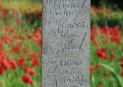 Hand-carved lettering stone Tam O'Shanter, Robert Burns