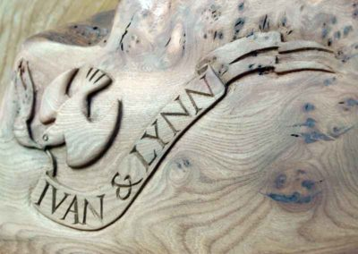 Hand-carved lettering on elm cake stand, wedding gift
