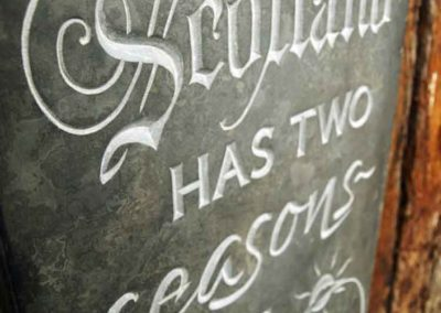 Hand-carved lettering stone Billy Connolly quote