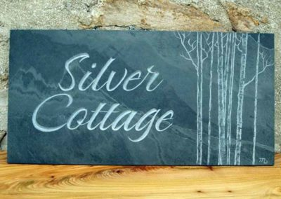 hand-carved lettering slate house sign Silver Cottage