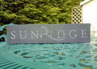 hand-carved lettering slate house sign Sunridge