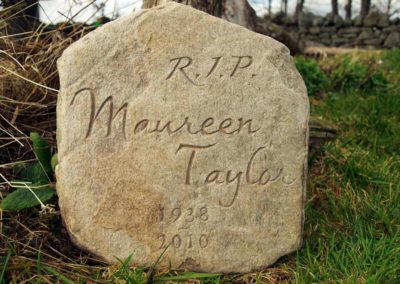 Hand-carved natural memorial stone